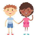 Kids holding hands vector Stock Photography