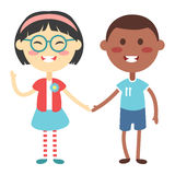 Kids holding hands vector. Kids holding hands together. Boy and girl kids holding hands vector character. Kids holding hands cute little boy and girl stock illustration