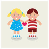 Kids holding heart. Vector illustration Royalty Free Stock Photography