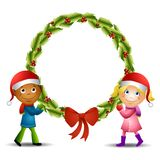Kids Holding Large Wreath Stock Photography