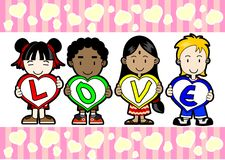 Kids holding LOVE letter Stock Images