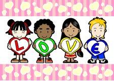 Kids holding LOVE letter. Multi racial kids holding letter LOVE Stock Images