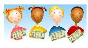 Kids Holding Money Bills Stock Image
