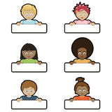Kids holding name tags. Children holding blank name tags ready for text Stock Image