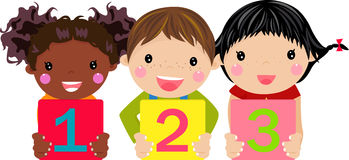 Kids holding number Royalty Free Stock Photo