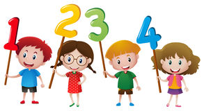 Kids holding numbers on the stick. Illustration Royalty Free Illustration