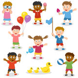 Kids Holding Objects Set. A collection of cute multicultural kids holding different objects, isolated on white background. Eps file available Stock Photo