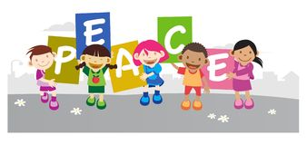 Kids holding peace banner Royalty Free Stock Photography