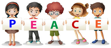 Kids holding the PEACE letters Royalty Free Stock Image