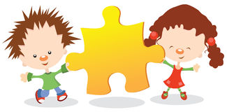 Kids Holding Puzzle Piece Royalty Free Stock Image