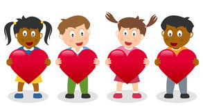 Kids Holding a Red Heart. A cute St. Valentines or Saint Valentine s Day illustration with a group of four multicultural kids holding a red heart. Eps file royalty free illustration