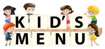 Kids holding sign with kid's menu Stock Image