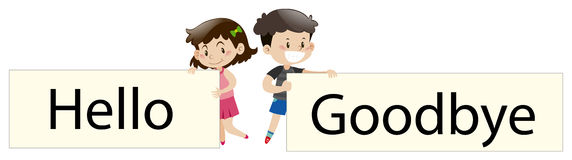 Kids holding sign say hello and goodbye. Illustration Stock Images