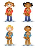 Kids Holding Teddy Bears. An illustration featuring an assortment of cartoon kids holding teddy bears and smiling Stock Images