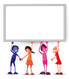 Kids holding up the blank  board. Stock Photo