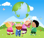Kids Holding Up The Earth Royalty Free Stock Photography