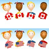 Kids Holding US Canadian Flags Royalty Free Stock Image