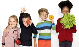 Kids Holding Vegetable Healthy Food. Portrait Royalty Free Stock Photography
