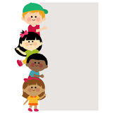 Kids holding vertical blank banner Stock Photo