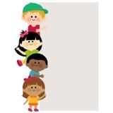 Kids holding vertical blank banner Stock Photo