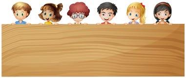 Kids holding wooden plywood. Illustration Royalty Free Stock Image