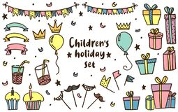 Kids holiday set in vector royalty free illustration