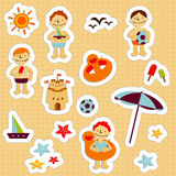 Kids Holidays Stickers 2. Stickers with elements of kids summer holidays, with toys, balls, gulls, sea star, sand castle, boats, save ifes, sun and ice cream Stock Photo