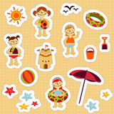 Kids Holidays Stickers. Stickers with elements of kids summer holidays, with toys, balls, gulls, sea star, sand castle, boats, save ifes, sun and ice cream Royalty Free Stock Photography