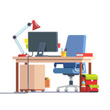 Kids home learning and study desk. With casters chair, desktop computer, book, table lamp and school backpack. Front side view. Flat style color modern vector Stock Images