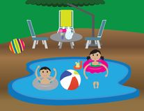 Kids in a home swimming pool. Summer vacation illustration. Summer holiday Vector illustration. boy and girl in a home swimming pool, beach ball and a lemonade Royalty Free Stock Image