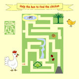 Kids homework How help a hen to find the chicken. Preschool education. Stock Photos
