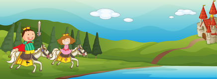 Kids and horse. Illustration of a kids and horse in a beautiful nature Stock Photos