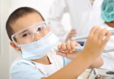Kids at hospital, Little doctors Royalty Free Stock Images