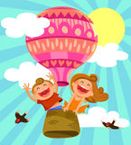 Kids in hot air baoon Stock Image