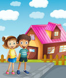 A kids and a house Royalty Free Stock Photos