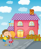 Kids and house. Illustration of a kids and house in a beautiful nature Royalty Free Stock Image