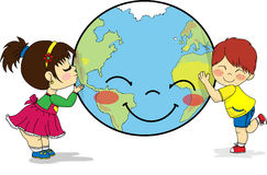 Kids hugging and kissing smiling planet Earth stock illustration