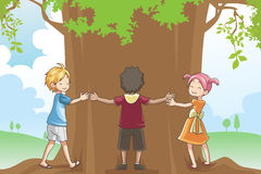 Kids hugging tree. A vector illustration of kids hugging a tree showing a concept of loving environment royalty free illustration