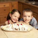 Kids and ice cream. Two kids excited about ice cream Royalty Free Stock Photos