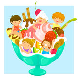 Kids in ice cream. Happy kids in a cup of ice cream with fruit Royalty Free Stock Images
