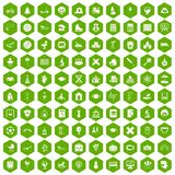 100 kids icons hexagon green Royalty Free Stock Photo