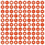 100 kids icons hexagon orange. 100 kids icons set in orange hexagon isolated vector illustration Royalty Free Stock Photos