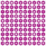 100 kids icons hexagon violet. 100 kids icons set in violet hexagon isolated vector illustration Stock Photography