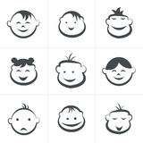 Kids icons set, boys and girls, children symbols. Royalty Free Stock Photo