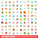 100 kids icons set, cartoon style. 100 kids icons set in cartoon style for any design vector illustration Royalty Free Stock Images