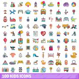100 kids icons set, cartoon style. 100 kids icons set in cartoon style for any design vector illustration Stock Images