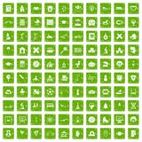 100 kids icons set grunge green Royalty Free Stock Photo