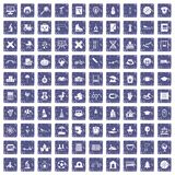 100 kids icons set grunge sapphire. 100 kids icons set in grunge style sapphire color isolated on white background vector illustration vector illustration