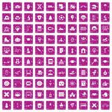 100 kids icons set grunge pink. 100 kids icons set in grunge style pink color isolated on white background vector illustration Royalty Free Illustration