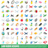 100 kids icons set, isometric 3d style Royalty Free Stock Image